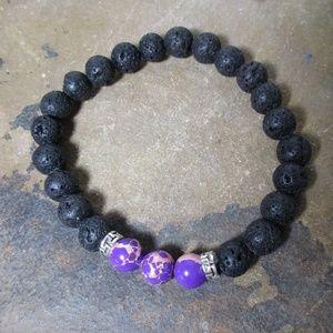 1613 Lava stone & sea sediment jasper bracelet